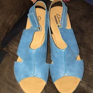 Clark's Collection blue suede cork heel wedge 8